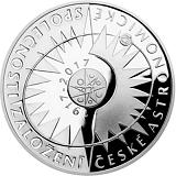 Pamätná strieborná minca, 200Kč Založenie Českej astronomickej spoločnosti proof