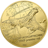 """Pamětní zlatá mince, 50EUR 1/4 oz 2019 """"Historie a letectví - Concorde"""" proof"""