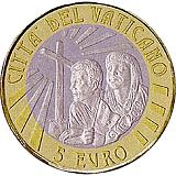 """Pamětní mince, 5EUR Pontifikát papeže Františka 2019 - """"34. Světový den mládeže v Panamě"""" v sadě oběžných mincí 2019"""