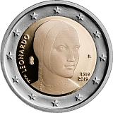 Pamětní mince, 2EUR 500. výročí úmrtí Leonarda da Vinci stand