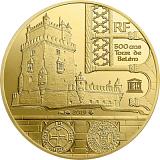 """Pamětní zlatá mince, 50EUR 1/4 oz 2019 """"UNESCO - Břehy řeky Seiny"""" proof"""