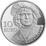 Pamětní stříbrná mince, 10EUR 350. výročí úmrtí Rembrandta proof