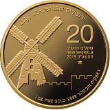 Investiční zlatá mince, 20NIS Jeruzalémský větrný mlýn 2019