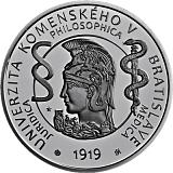Pamětní stříbrná mince, 10EUR Univerzita Komenského v Bratislavě – 100. výročí vzniku proof
