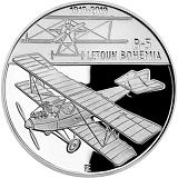 Pamětní stříbrná mince, 200Kč Sestrojení prvního letadla české výroby Bohemia B-5 proof