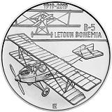 Pamětní stříbrná mince, 200Kč Sestrojení prvního letadla české výroby Bohemia B-5 stand