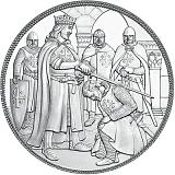 """Pamětní stříbrná mince, 10EUR """"Rytířské příběhy - Dobrodružství"""" stand"""