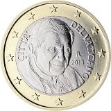 Pamětní mince, 1EUR Pontifikát papeže Benedikta XVI. 2013 stand