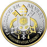 Pamětní stříbrná mince, 5EUR Pontifikát papeže Františka 2019 - 150. výročí Circolo San Pietro zdobená zlatem