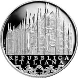 """Pamätná strieborná minca, 10EUR """"Séria Talianske umenie - Lombardia - Chrám Narodenia Presvätej Bohorodičky"""" proof"""