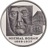 Pamětní stříbrná mince, 10EUR Michal Bosák – 150. výročí narození stand