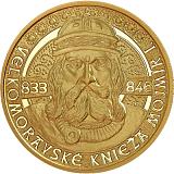 Pamätná zlatá minca, 100EUR Veľkomoravské knieža Mojmír I. proof