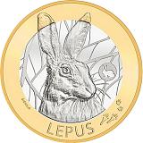 """Pamätná minca, 10CHF """"Švajčiarske lesné zvieratá - zajac"""" stand"""