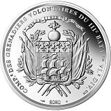 """Pamätná strieborná minca, 10EUR 2020 """"Významné dni ľudstva - Príjazd La Fayetta do Bostonu"""" proof"""
