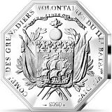 """Pamätná strieborná minca, 25EUR 2 oz 2020 """"Významné dni ľudstva - Príjazd La Fayetta do Bostonu"""" proof"""