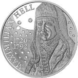 Pamětní stříbrná mince, 10EUR Maximilián Hell - 300. výročí narození stand