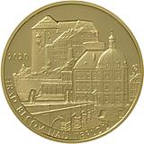 """Pamětní zlatá mince, 5000Kč Cyklus """"Hrady"""" Bečov nad Teplou stand"""