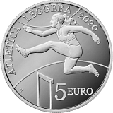 """Pamětní stříbrná mince, 5EUR """"Mistrovství malých evropských států v atletice San Marino 2020"""" proof"""
