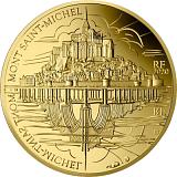 """Pamětní zlatá mince, 50EUR 1/4 oz 2020 """"UNESCO - Hory - Mount Saint Michel"""" proof"""