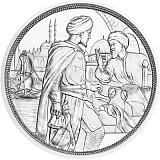 """Pamětní stříbrná mince, 10EUR """"Rytířské příběhy - Statečnost"""" stand"""