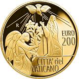 Pamětní zlatá mince, 200EUR Pontifikát papeže Františka 2020 - Archandělé: Gabriel