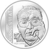 """Pamětní stříbrná mince, 20CHF """"100. výročí Friedricha Dürrenmatta"""" proof"""