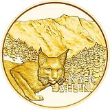 """Pamětní zlatá mince, 50EUR """"Poklady Alp - Alpské lesy"""" proof"""