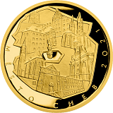 "Pamätná zlatá minca, 5000Kč Cyklus ""Mestské pamiatkové rezervácie"" Cheb proof"