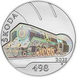 """Pamätná strieborná minca, 500Kč Cyklus """"Slávne dopravné prostriedky"""" Parná lokomotíva Škoda 498 Albatros stand"""