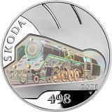 """Pamätná strieborná minca, 500Kč Cyklus """"Slávne dopravné prostriedky"""" Parná lokomotíva Škoda 498 Albatros proof"""