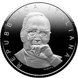 """Pamätná strieborná minca, 5EUR """"Séria Veľkí talianski umelci - Ennio Morricone"""" stand"""