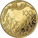 """Pamětní zlatá mince, 100EUR Pontifikát papeže Františka 2021 - """"Ústava apoštolské církve Vatikánské rady II: Gaudium et Spes"""""""
